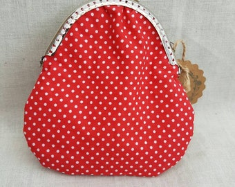 Red Polka Dot Kiss Clasp Coin Purse/Change Purse/Coin Pouch
