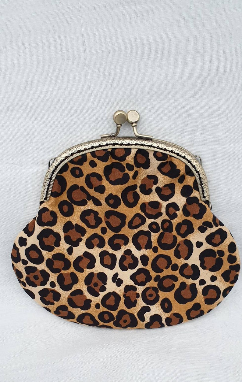 4371b1d4c4 Leopard Print Kiss Clasp Coin Purse Large Purse Change