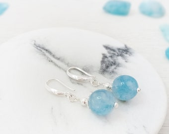 40th Birthday Gift for Woman Healing Crystal Sterling Silver Minimal Earrings Handmade December Birthstone Genuine Turquoise Jewelry