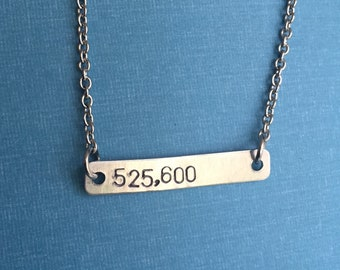 Rent Musical 525,600 Hand Stamped Metal Necklace
