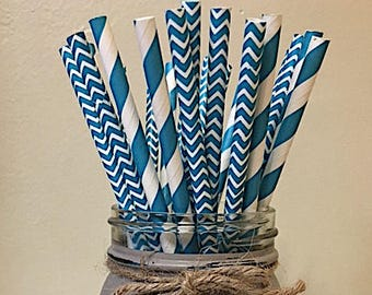 Teal Striped Paper Straws, Striped paper straws, Teal Chevron Paper Straws, Chevron Paper Straws, Paper Straws, Teal Party Straws