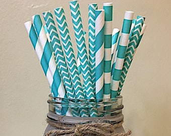 Turquoise Straws, Striped paper straws, Turquoise Chevron Paper Straws, Chevron Paper Straws, Paper Straws, Party Straws, Turqouise