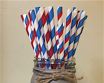 Red and Blue Striped Paper Straws, Striped paper straws,  Red Paper Straws, Blue Paper Straws, Airplane Paper Straws Decorations, 4th July