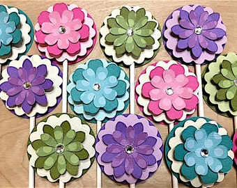 Flowers paper flowers spring flowers flower backdrop etsy spring flower cupcake toppers easter flower decorations flower birthday easter flower baby shower spring flower party set of 12 mightylinksfo