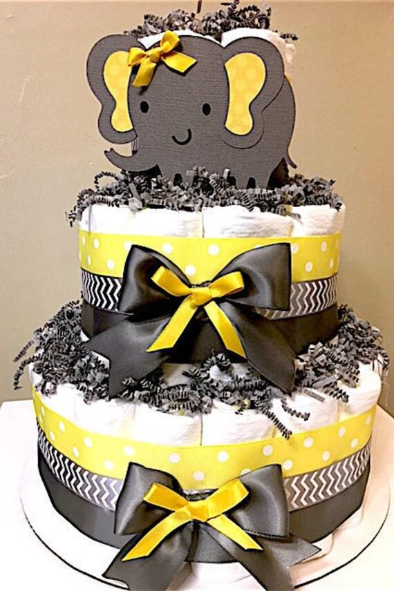 Elephant Yellow And Gray Diaper Cakes Elephant Decorations Etsy