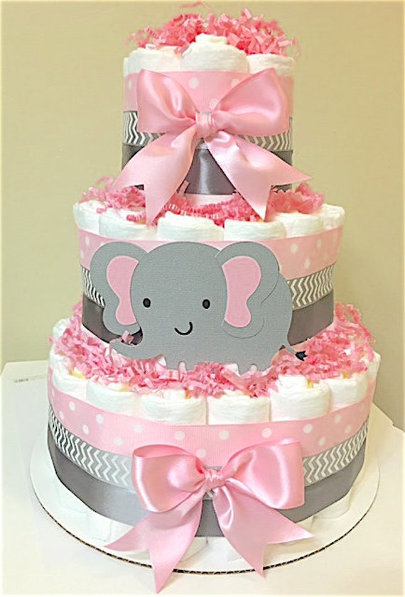 Miraculous Elephant Light Pink And Gray Diaper Cakes Elephant Etsy Birthday Cards Printable Trancafe Filternl