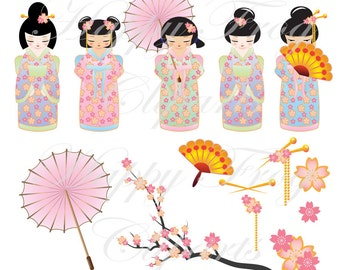 Geisha Girls Clipart - HFC 018 - Clipart, Kokeshi Doll Clipart, Japanese Girl, Digital File, Instant Download, Comercial Use