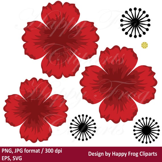 Poppy flower hfc 029 poppy flower template instant etsy poppy flower hfc 029 poppy flower template instant download clipart vector graphic comercial use mightylinksfo
