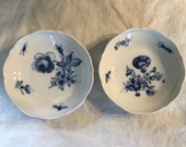 Antique Meissen Cobalt Blue Floral with Insects Pair of Pin Dishes