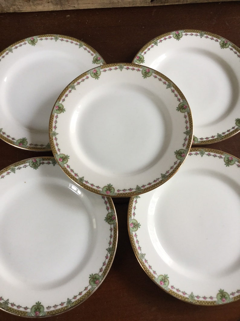 Vignaud Limoges France  1920/'s  Set of 5 Bread and Butter Dessert Dishes Dishes  VIG56