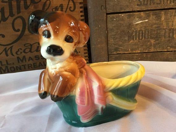 d37ea7a587 Vintage 1940s Royal Copley Pottery Dog in Basket Planter
