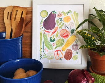 Watercolor Veggie 8x10 Print