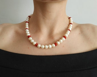 Genuine Mother of Pearls Necklace For Summer Classic Jewelry Pearls Beaded Necklace Wedding Jewelry For Bride Pearl Silver Necklace Beige