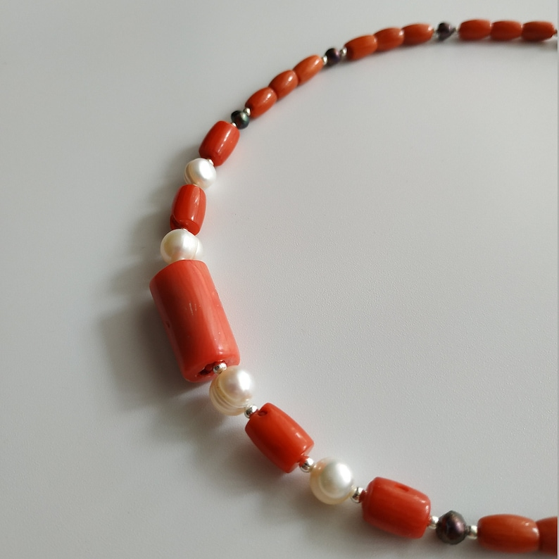 Coral Pearls Jewelry Natural Coral Necklace with White and Blue Pearls Minimalism Jewelry Vintage Necklace Gift For GirlFriend