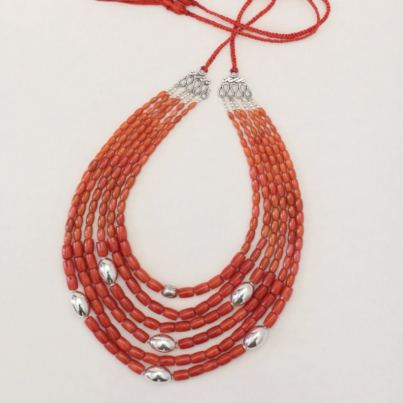 Vintage Coral Necklace Silver Coral Jewelry Ukrainian Necklace with Coral Genuine  Beaded Jewelry Real Red Coral Boho Necklace Victorian