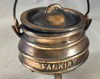 """Vintage  Iron """"Kaukirk,"""" Souvenir/Collectable Pot With Handle and  Lid"""