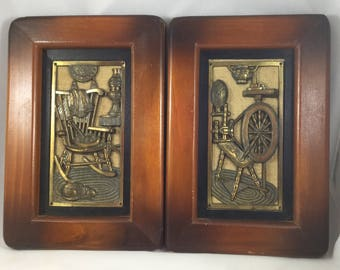 2 Early American Brass Looking and Wood Pictures