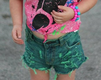 Apple Green girls distressed denim shorts baby distressed denim toddler distressed denim Green jean shorts/green shorts