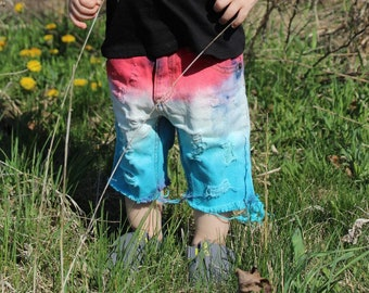 Boys Bomb Pops distressed Shorts 4th of July outfit/patriotic shorts