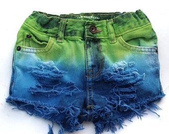 Distressed denim shorts-upcycled jeans-yellow hearts-baby girl-18-24 months-ripped shorts-sustainable inant toddler fashion-eco friendly