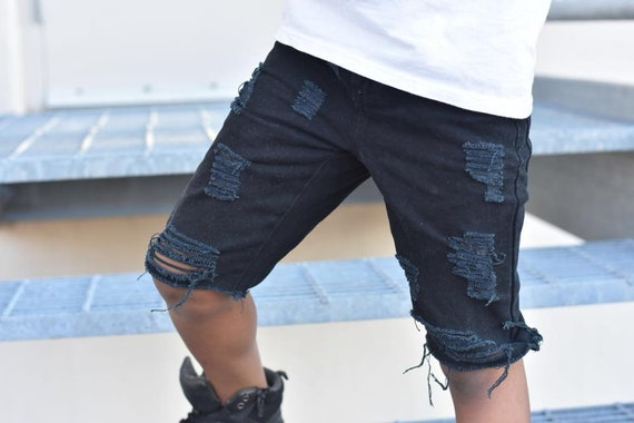 another chance cheaper large discount Black Distressed BOYS skinny Jeans shorts/Baby Distressed Jeans/baby boy  ripped jeans/toddler jeans/boys birthday pants/jeans for boys