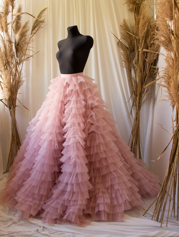 Rose long maxi tulle skirt with a big train,bridesmaid dress,photo shoot tulle skirt