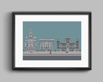Liverpool Three Graces Print Original Artwork