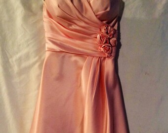 b1c55e0696d Bill Levkoff Vintage Pink Sateen Strapless Party Dress