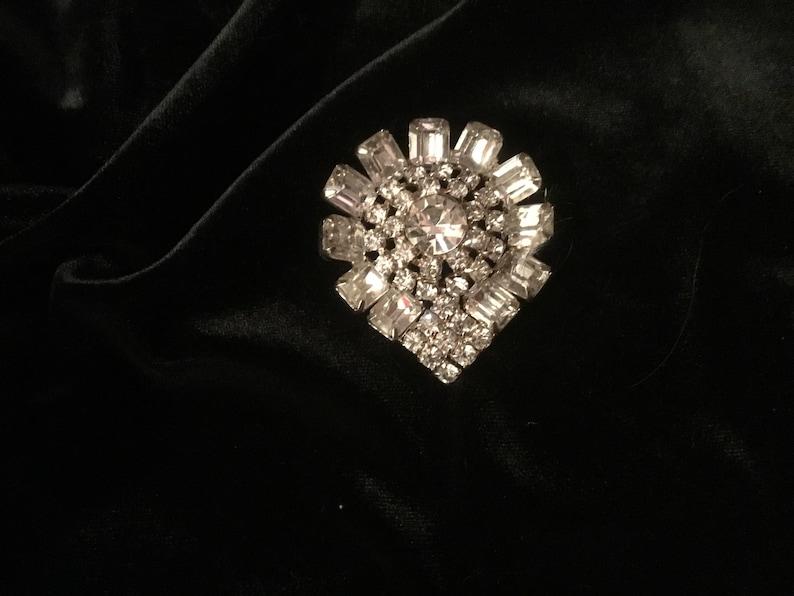 Pin Pear shaped Pendant 1927 Antique Rhinestone Broach Pristine Condition