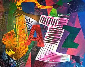 "Canvas ""Jazz"" - multicolor mi figurative abstract half - Art saxophonist John Coltrane contemporary"