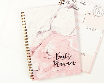 Daily Planner Notebook, Marble Notebook, To Do List Notebook, Spiral Notebook, Notebook Planner, Undated Planner A5, Pink Notebook, 50 sheet