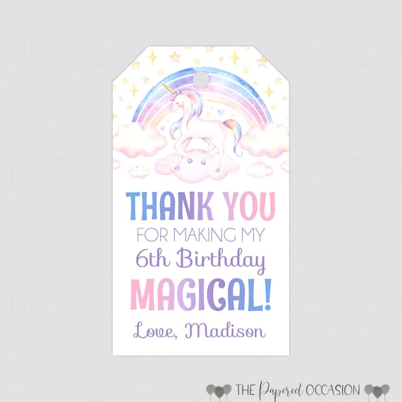 Printed Or Printable Unicorn Birthday Party Gift Tags Etsy