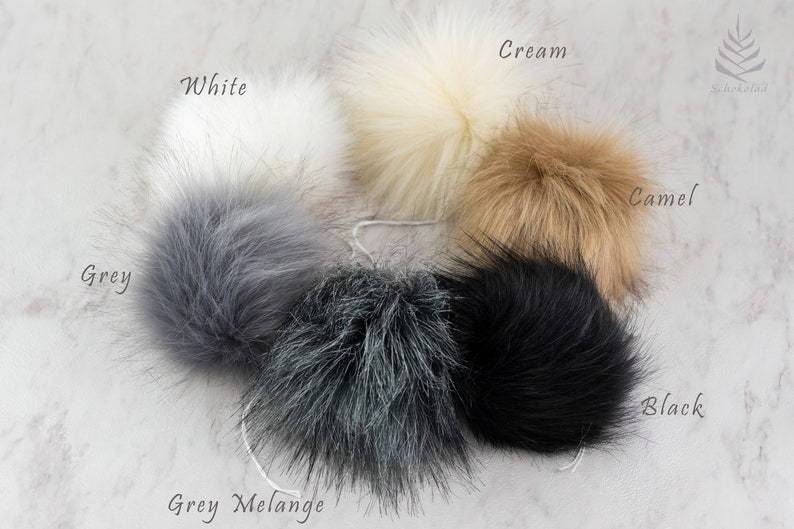 1235fdb46b5 6 pcs. Faux Fur Detachable Pompom Approx. Size 5