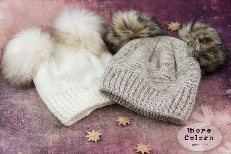 f680247dc5c Double Pom Pom Beanie Faux Fur Pom Poms Ladies Winter Hat