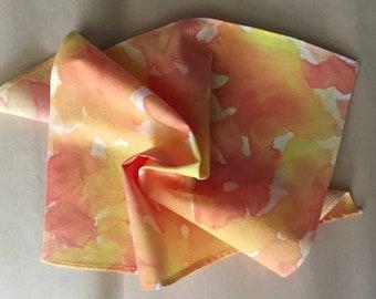 "Cotton Pocket Square, Custom Colors, Hand Painted ""Brushstroke"" Pattern"