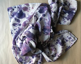 """Large Silk Square Scarf, Custom Colors, Hand Painted """"Milky Way"""" Pattern"""
