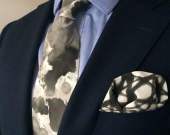 "Hand Painted Silk Tie, Wide, Custom Color, ""Watercolor Splatter"""