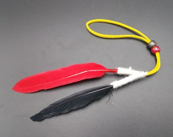 Native American Navajo Friendship Feather - Ron Manygoats - Handmade Navajo Feathers Wool & Leather