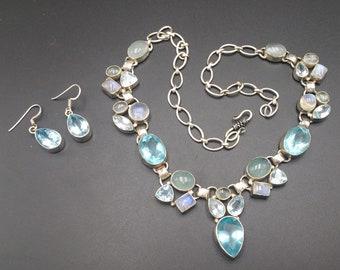 Earring & Necklace Sterling Set Topaz Moonstone Quartz Unique Mother's Day Gift