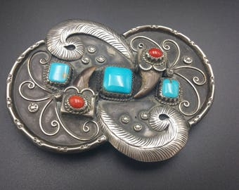 Navajo Belt Buckle Antique Sterling Silver with Rare Turquoise