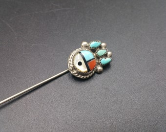 Zuni Stick Pin Petite Point Turquoise Native American Art Sterling Southwest Gift