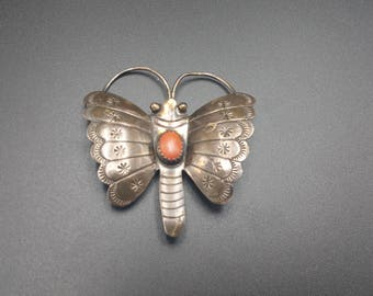 Navajo Butterfly Pin Sterling Silver Native American Gift Southwest