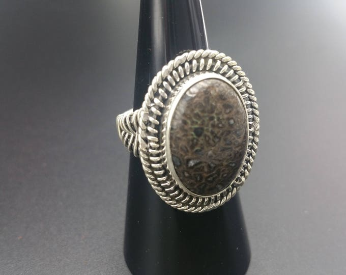 Dinosaur Gembone Ring Size 7.25 Unique Sterling Silver Fossil Gift