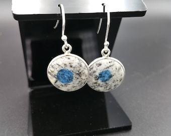 K2 Granite Drop Earrings Sterling Silver Mineral Specimen Unique Climbing Gift