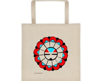 Zuni Sunface Tote Bag Native American Art Southwest Gift 100% Cotton