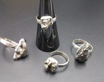 Meteorite Solitaire Ring Sterling Silver .925 Campo Del Cielo Specimen Space Lovers Gift