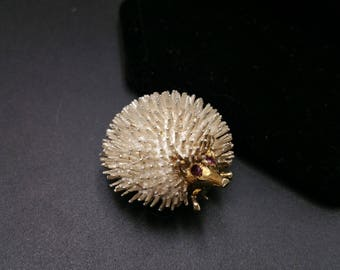 Hedgehog Pin 14K Gold & Sterling with Garnet Unique Estate Mother's Day Gift
