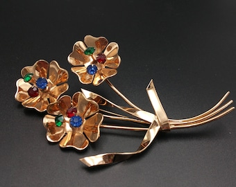 Coro Sterling Huge Copper Wash Flower Brooch with Rhinestones