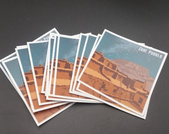 Zuni Pueblo Travel Sticker Original Southwest Artwork 3x3 Durable