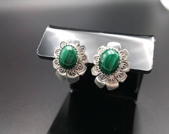 Malachite Earrings Native American Sterling Southwest Gift - Arthur Platero
